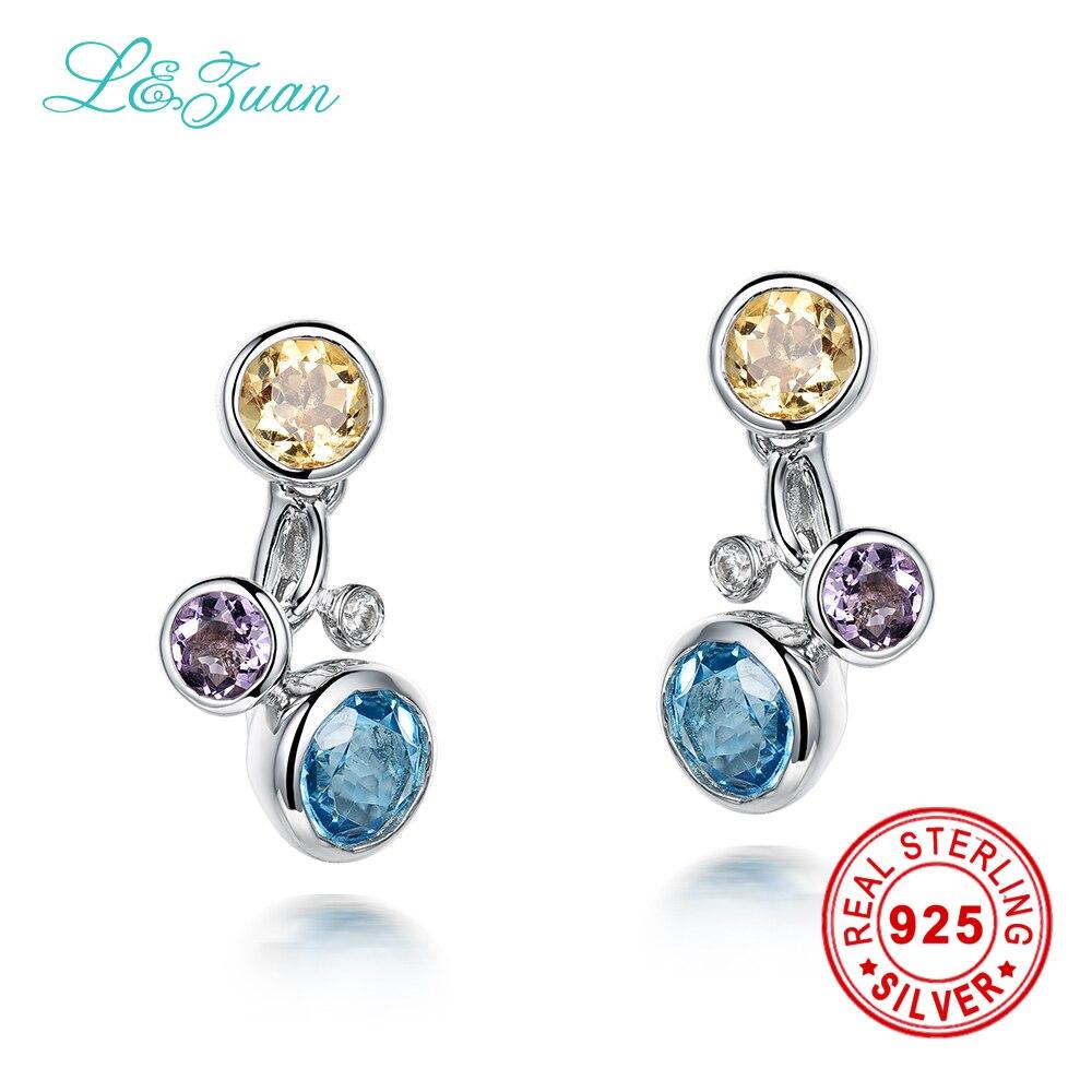 l&zuan 925 Sterling Silver 1.764ct Natural Topaz Blue Stone Elegant Stud Earrings For Women Gift