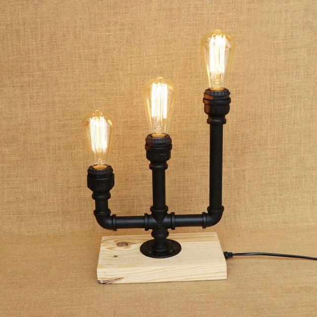 Vintage 3 Lights Iron Candlestick Table Lamp Wood Base With Switch E27 Led Light For Caffe Bedside Restaurant Study 220v