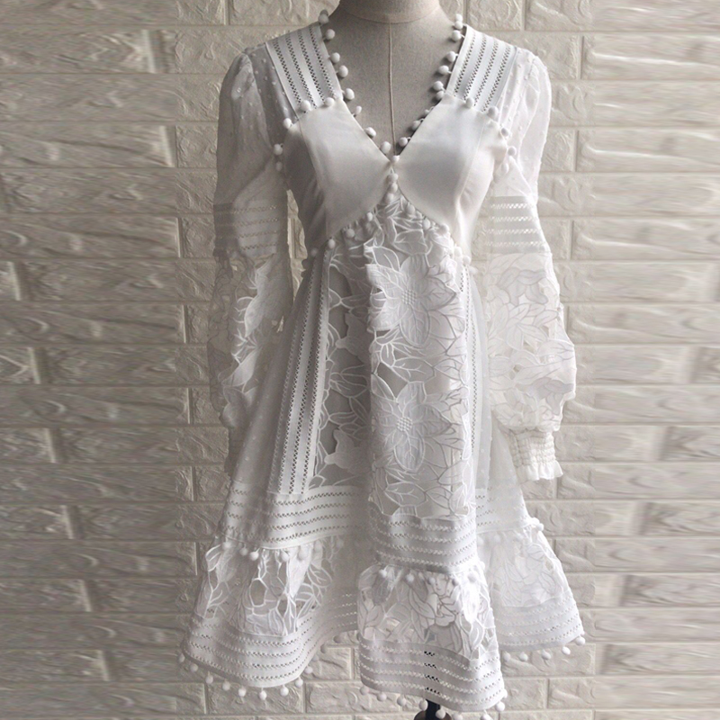 Évider Arrivent Patchwork Lanterne Blanche Plage Blanc 2018 Fleur Sexy Robe Dentelle De Nouveau Douce Manches Bal 13FKTculJ5