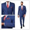 2016 recién llegado 100% lana brillante azul clásico 2 botones con muesca solapa custom made 3 unids slim fit hombres traje