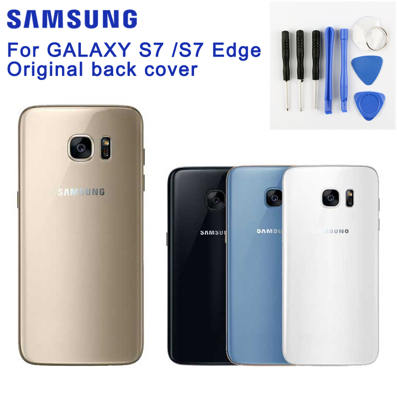 Samsung Original Battery Glass Back Cover Door For Samsung GALAXY S7 Edge G9350 S7 G9300 G9308 Rear Housing Protective Cover in Half wrapped Cases from Cellphones Telecommunications