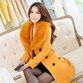 2017 Winter Woman New Fashion Women's Wool Coat Fur Collars Outerwear Overcoat Women Blends Parkas Plus Size Winter Coat Women