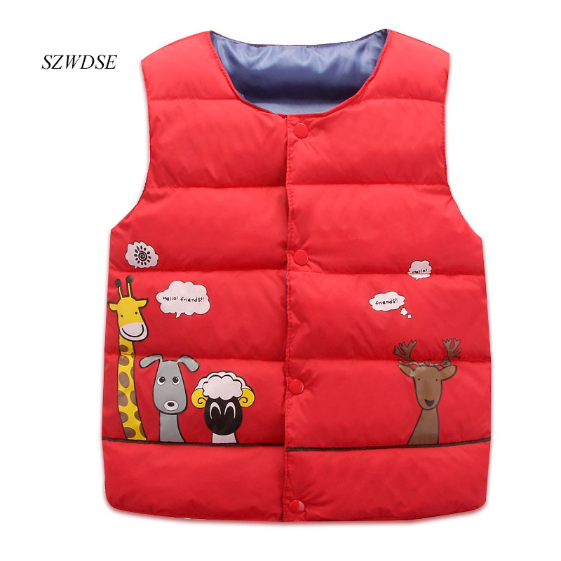Children's Autumn Winter Coats cartoon button Jackets Warm Kids down Vest Waistcoats boy/girls' Windproof Tops 4-8 years