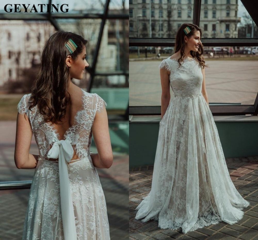 Boho Plus Size Beige Lace Wedding Dress 2019 Rustic Long