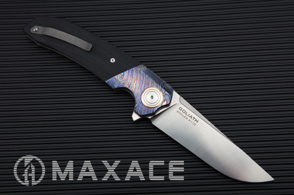 MAXACE Goliath Folding Knife Bohler K110 (D2) Steel Satin Blade Zirconium Timascus / G10 Handle Mokuti