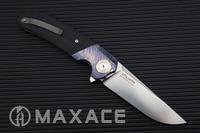 Spor ve Eğlence'ten Dış Mekan Aletleri'de MAXACE Goliath Katlanır Bıçak Bohler K110 (D2) Çelik Saten Blade Zirkonyum Timascus/G10 kolu mokuti