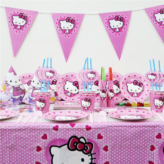 141pcs Kitty Cat Kids Birthday Party Decorate Supplies Decoration Tableware Set Tablecloth Plate Gift Bags