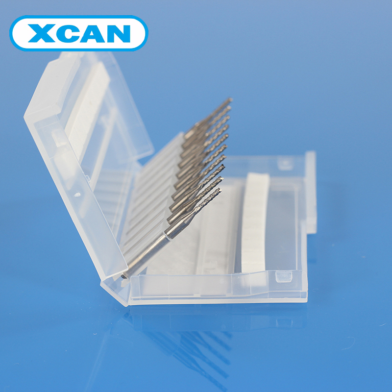 XCAN 10pcs 1.5mm PCB Carbide Tools CNC Cutting Bits Millinging Cutters Kit for Engraving drill bit