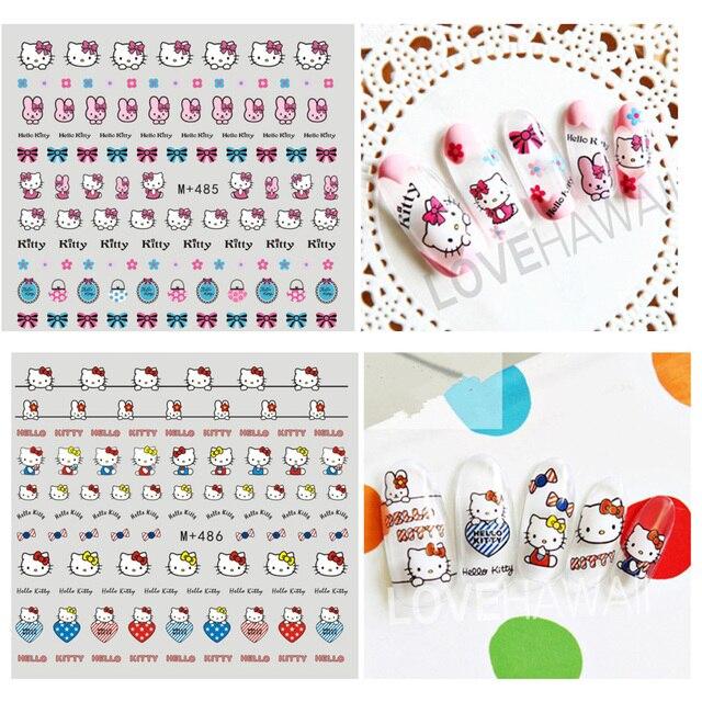 DIY Hello Kitty Nails Art Stickers Japanese Cartoon Animal Water ...