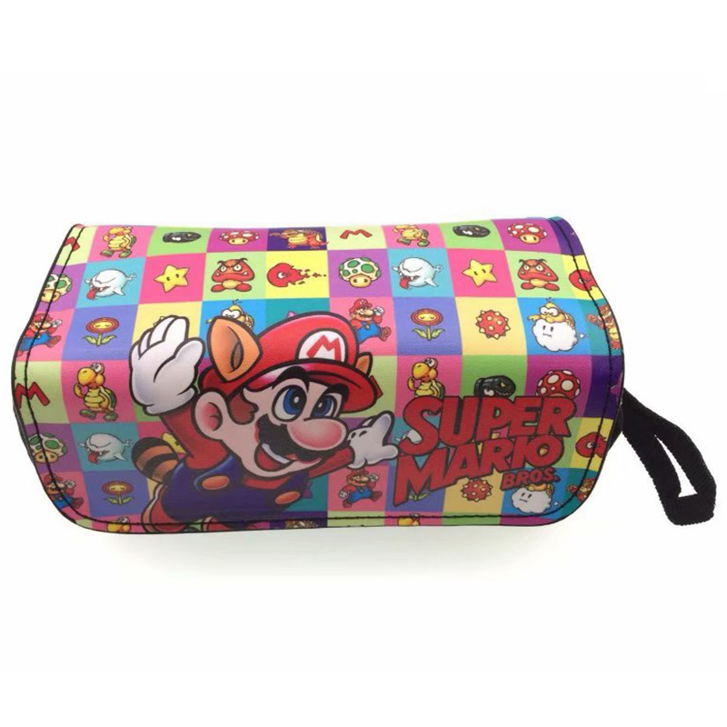 Classic Games Super Mario Pencil Bag Leather Canvas Double Zipper Pen Pencil Holder Purse For Kids Boy Girl Cosmetic Cases Bags