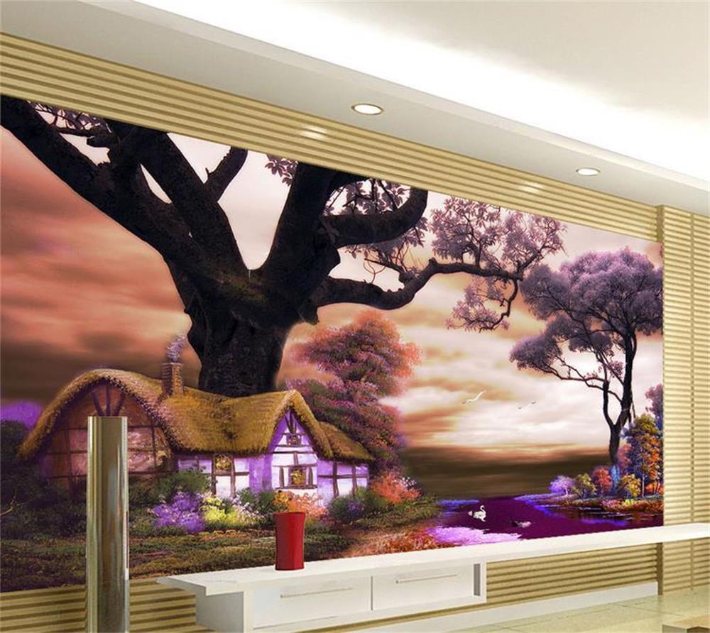 custom photo wallpaper/3d wallpaper/european tree house purple