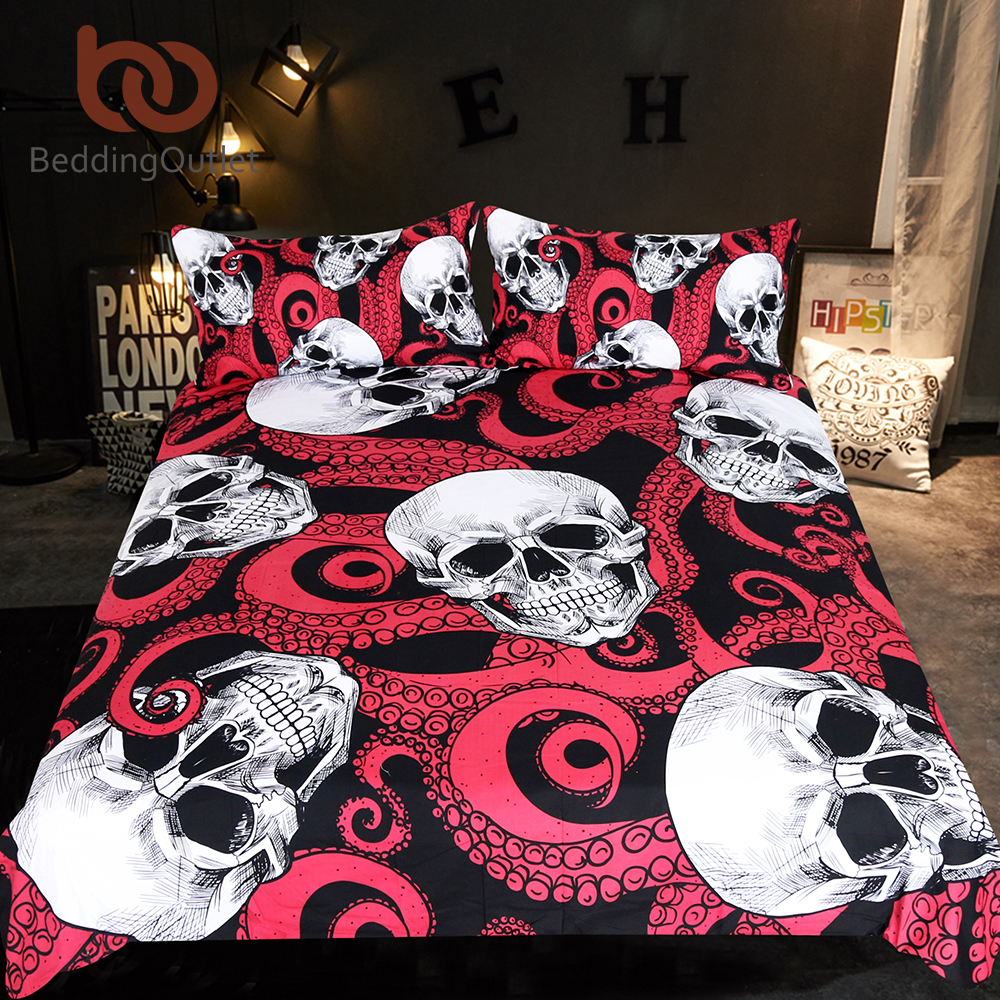 BeddingOutlet Skulls Bedding Set Octopus Tentacles Hand Duvet Cover Set 3pcs Gothic Bedspreads Red And Black Home Textiles Queen