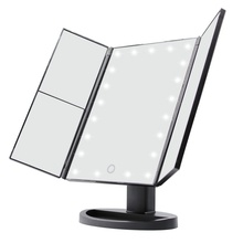 Portable Three Folding Table LED Lamp Luminous Makeup Mirror Cosmetic Mirror Adjustable Tabletop Countertop Light Mirror