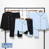 Aiqingsha Family Matching Pajmas Sleepwear Father Son Shirts+long Pants Mother and Daughter Clothes Pyjamas blue Family Outfits
