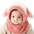 5 Colours Autumn Winter Kids Girls Boy Warm Crochet Woolen Cute Coif Hood Scarf Scarves Children Thermal Toddler Caps Hats Dec12