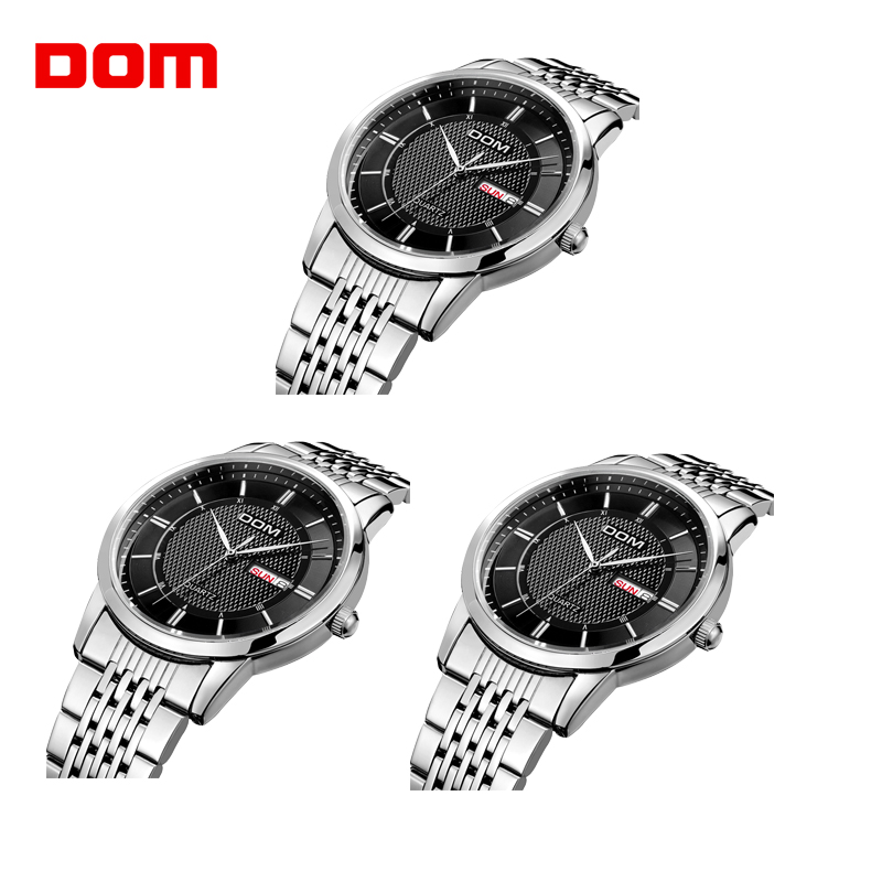 3PCs Wholesale DOM Watch Men Luxury Dress Quartz Watch Stainless Steel Waterproof Auto Date Calendar Watch relogio masculino M11