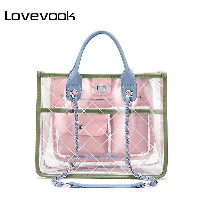 LOVEVOOK women handbag shoulder crossbody bags female messenger bag ladies transparent  bag clear purses and handbags 5b62de3a8a414