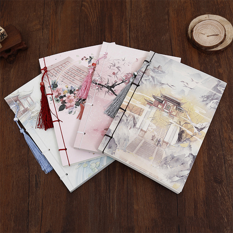 Handcrafted Chinese style tsmip notepad vintage notebook diary planner school agenda planner organizer classical notebook freeshipping retro handmade stitching binding cloth covered notebook chinese style lotus printing notebook