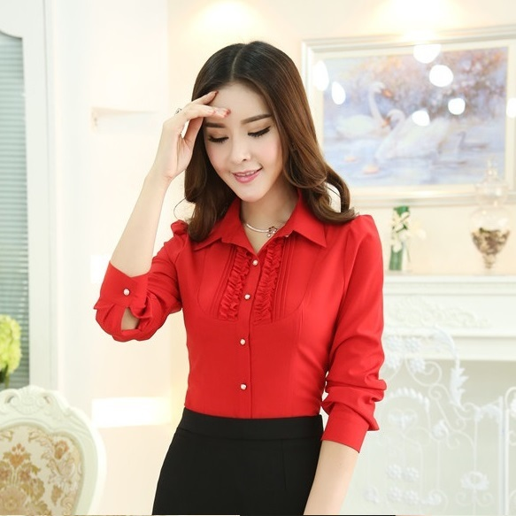 Formal Women Tops and Blouses 2015 New Fashion Ladies Office Uniform Red Shirts Long Sleeve Free Shipping