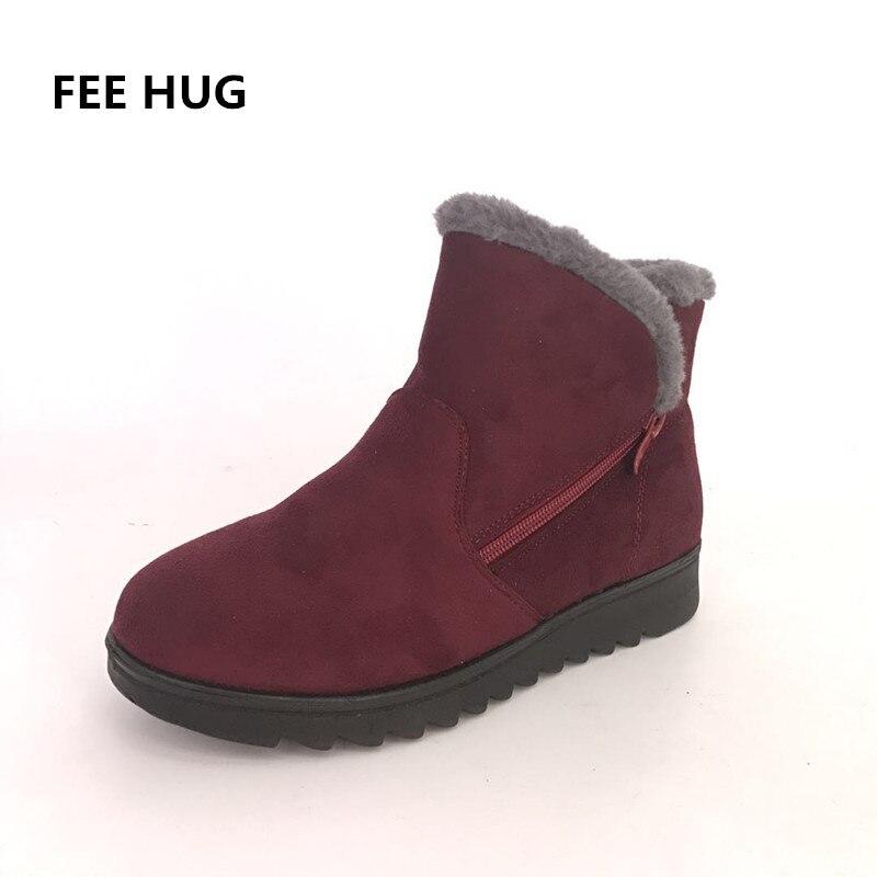 879a4f3a1aae57 Chaussures Plate Femmes Neige rouge Mère Femme D'hiver Bottes De Haut  marron forme Mujer Non Noir Botas ...