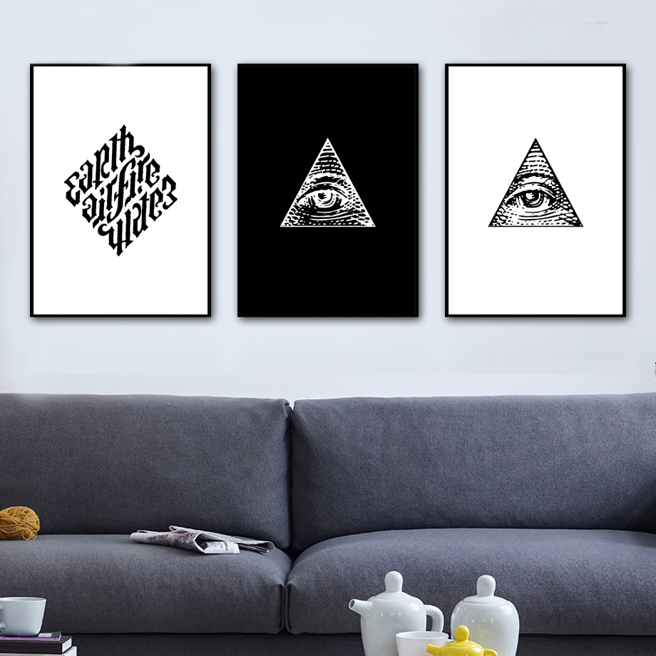 COLORFULBOY Masonic Logo Wall Art Canvas Painting Black White Nordic Posters And Prints Paintings For Living Room Pictures In Calligraphy