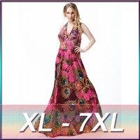 2016 primavera vestido de praia sexy backless off-ombro Com Decote Em V vestido maxi sexy super grande plus size 7XL flor impressão vestido longo