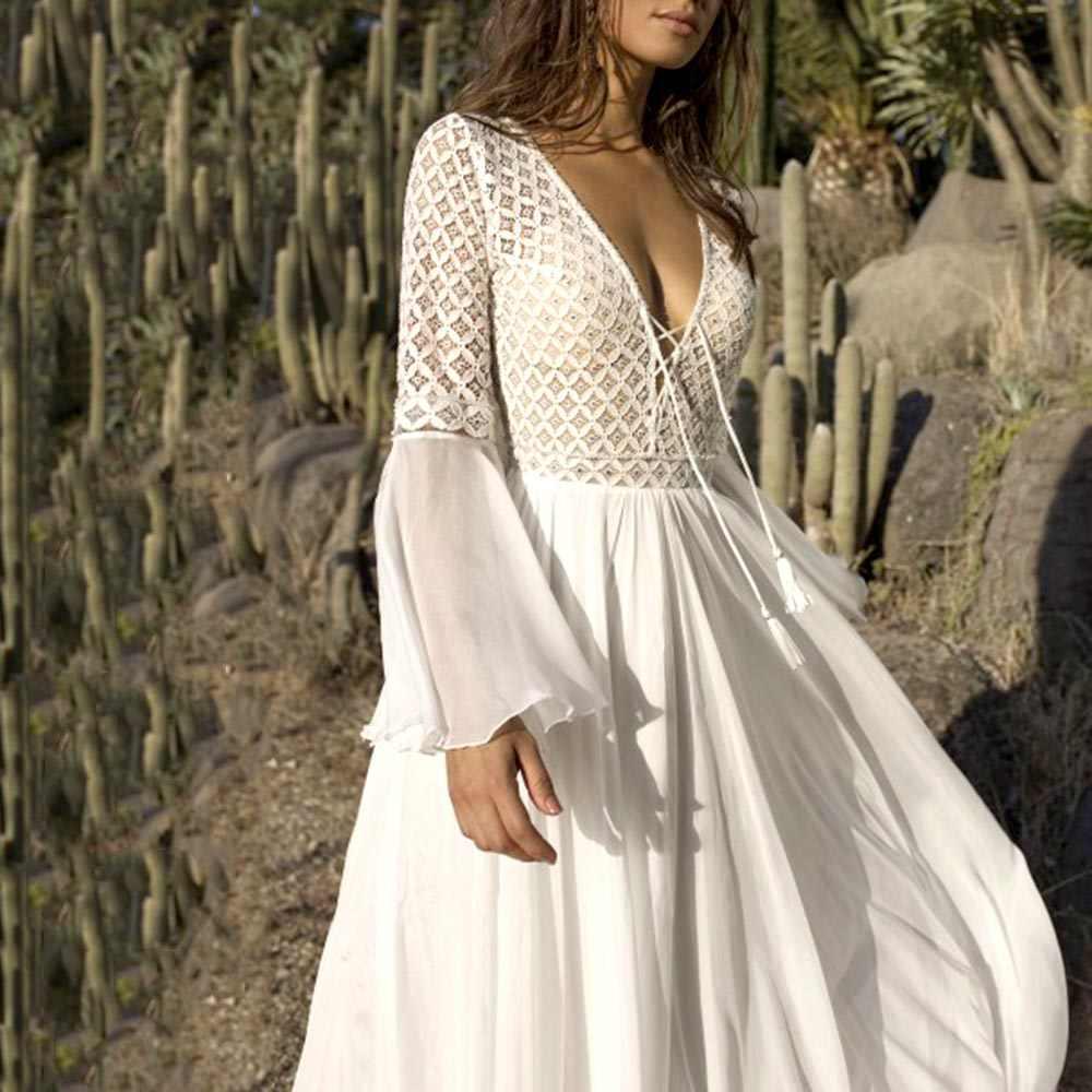 Женское осеннее платье богемное расширение с расклешенными рукавами v-образный вырез с высокой талией пуловер Плиссированное с кисточками полые Лоскутные кружевные платья