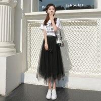 Mesh Half length Skirt Spring Mid length 2019 New Fairy Pleated Black Long Skirt Fairy Skirt Summer