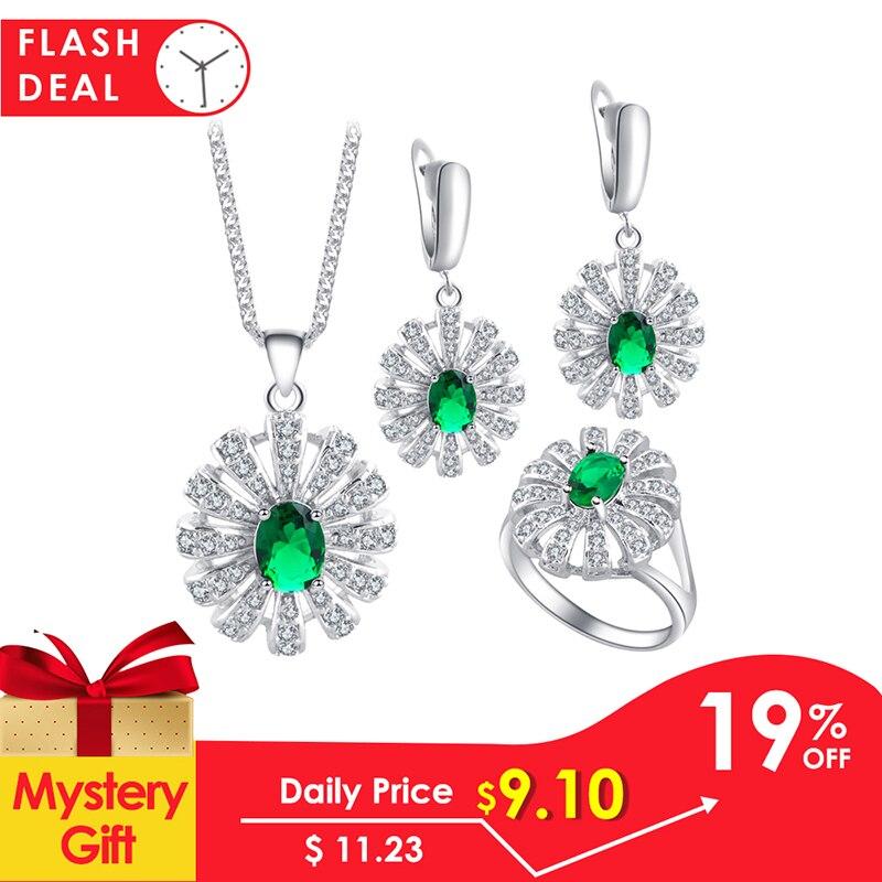 Ayowei For Women Birthday Gift Green Peridot Silver tone Fashion Jewelry Set Earring/Necklace/Ring Zircon JS685A