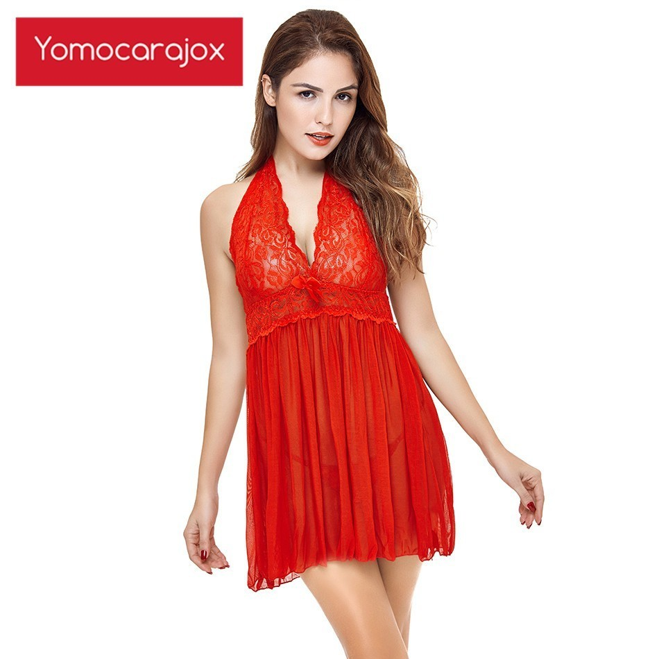 Hot Erotic Lace Babydoll <font><b>Dress</b></font> <font><b>6XL</b></font> <font><b>Plus</b></font> <font><b>Size</b></font> <font><b>Sexy</b></font> Underwear Womens Deep V Neck Sexi Woman Lingerie Sleepwear See Through image