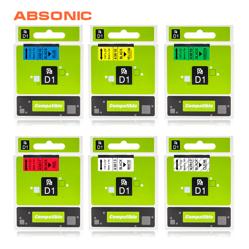 Absonic 43610 43613 6mm*7m Compatible with Dymo D1 Label Printer 43616 43617 43618 43619 for Dymo Label Manager 160 Label MakerAbsonic 43610 43613 6mm*7m Compatible with Dymo D1 Label Printer 43616 43617 43618 43619 for Dymo Label Manager 160 Label Maker