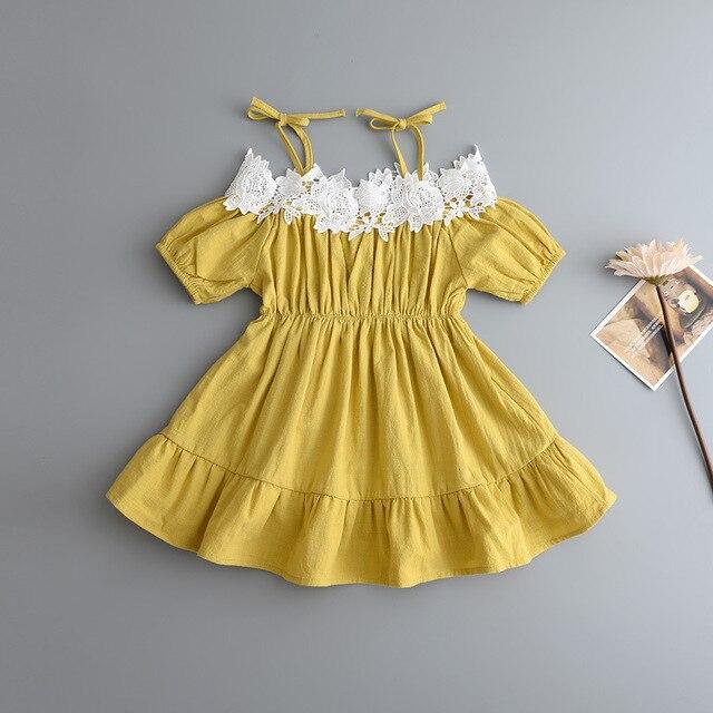 Baby Mädchen Spitze Ausschnitt Halter Kleid Schulterfrei Sommerkleid