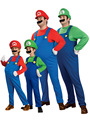 Funy cosplay super mario luigi brothers fancy dress costume party up traje lindo para adultos niños kid envío gratis