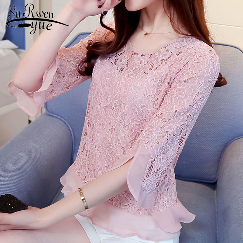 fashion women   blouses   2018 summer women tops lace women   blouse     shirt   sexy hollow lace   blouse   women   shirt   feminine blusas 109C 30