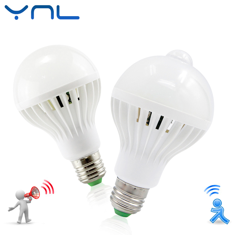 LED Lamp PIR Infrared Motion/Sound+Light Sensor Control E27 3w 5w 7w 9w 12w Automatic Smart Sensor White Lampada LED Bulb Light(China)