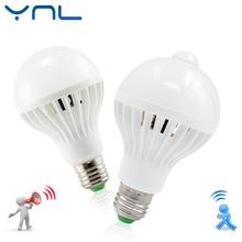 LED lamp PIR Infrared Motion/Sound+Light Sensor Control E27 3w 5w 7w 9w 12w automatic Smart Sensor White Lampada LED Bulb light