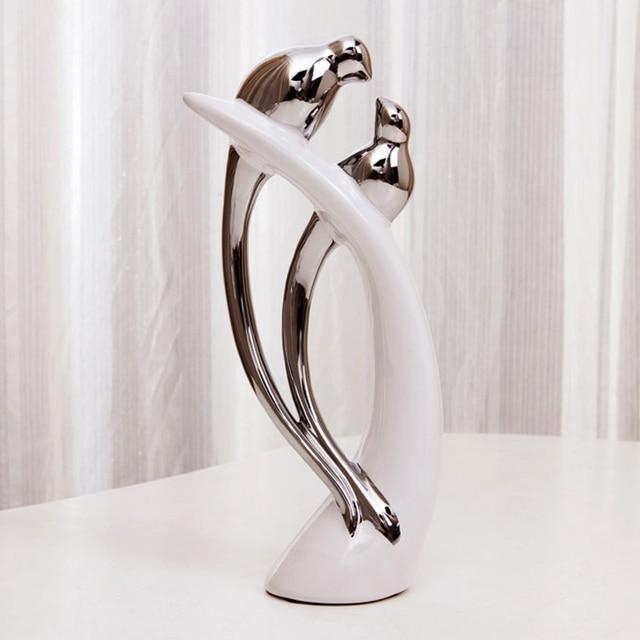 Творческий свадебный подарок керамические современный домашний декор фарфор посеребренные птицы на белый елочные украшения