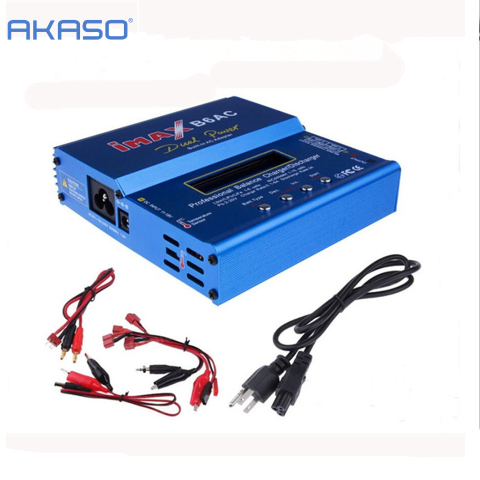 AKASO New iMAX B6 AC 80W B6AC Lipo NiMH 3S/4S/5S RC Battery Balance Charger + EU/US plug power supply wire ocday 1set imax b6 lipo nimh li ion ni cd rc battery balance digital charger discharger new sale