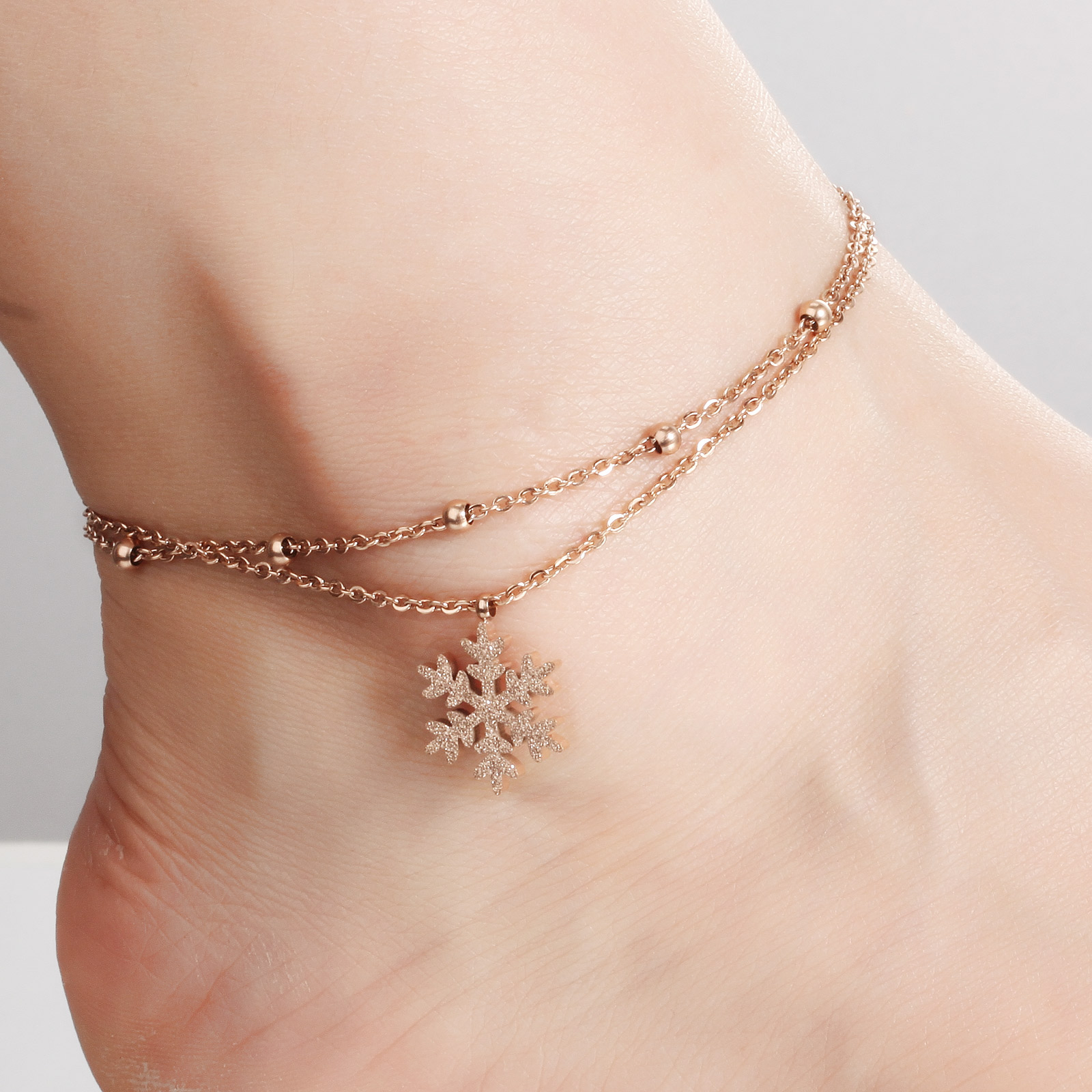 small resize womens snowflake chain plated jewellery rosie or buy gold bracelet snowflaked rose anklet