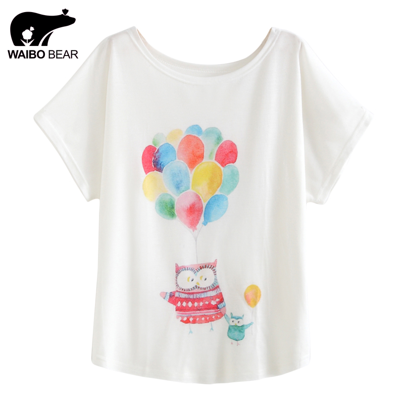 Wholesale women 2017 t shirts colorful balloons owl print for Printed t shirts in bulk
