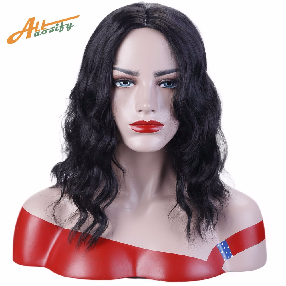 Allaosify Ladys long black long wavy wigs Synthetic Medium style ...