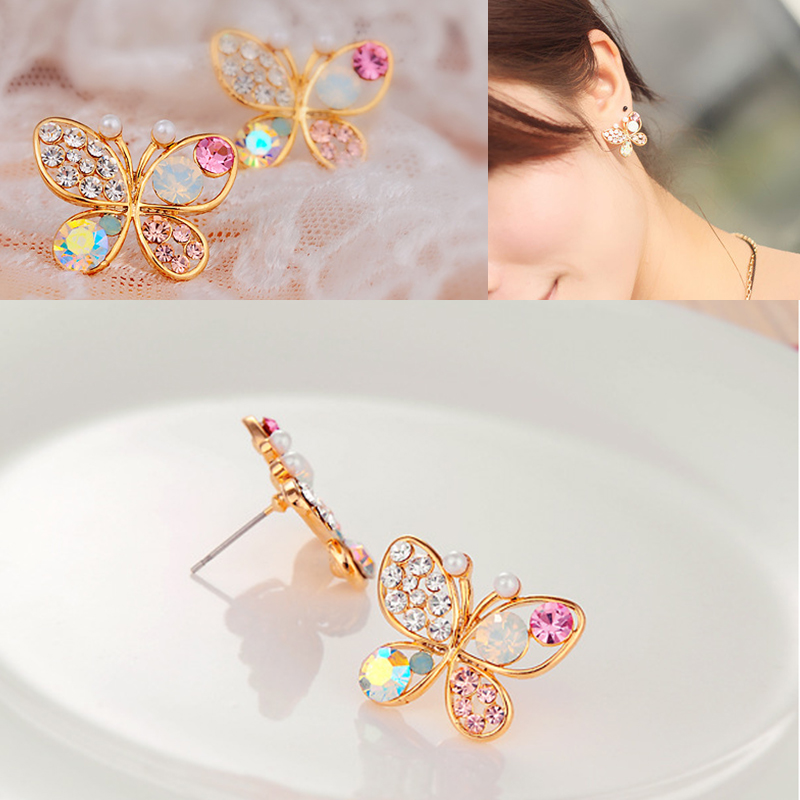 Free Shipping Luxury Hollow Shiny Colorful cystal Simulated Pearl Jewelry Butterfly Stud Earrings For Women Christmas gift Er202
