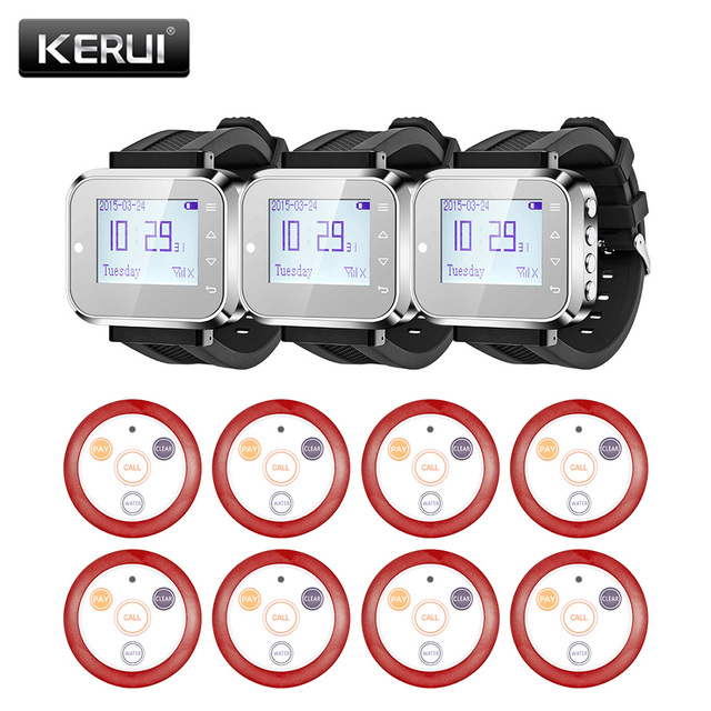US $173 99 13% OFF|KERUI 999 Channel Wireless Pager Restaurant Waiter  Calling System 8pcs Call Transmitter Button+3pcs Pager Watch Receiver  433MHz on