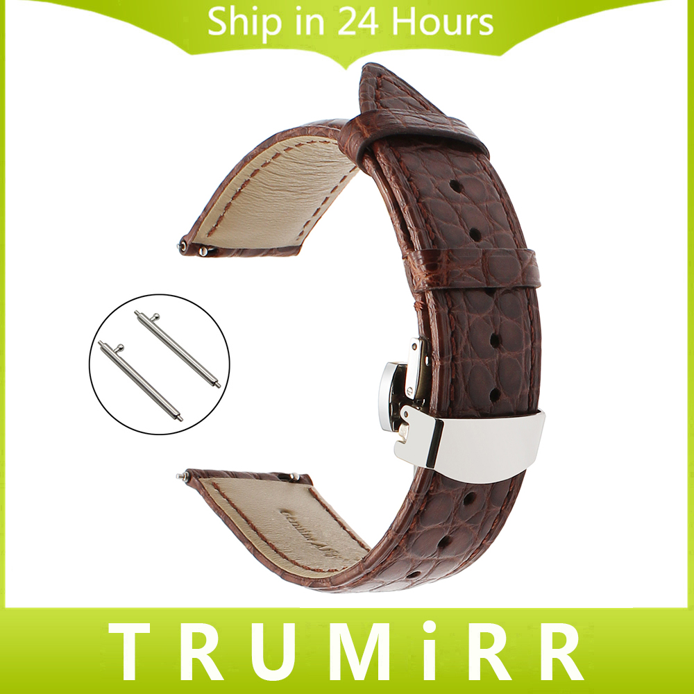 Genuine Alligator Leather Watchband +Tool for Omega IWC Longines TAG Heuer Mido Watch Band Quick Release Strap 18mm 20mm 22mm