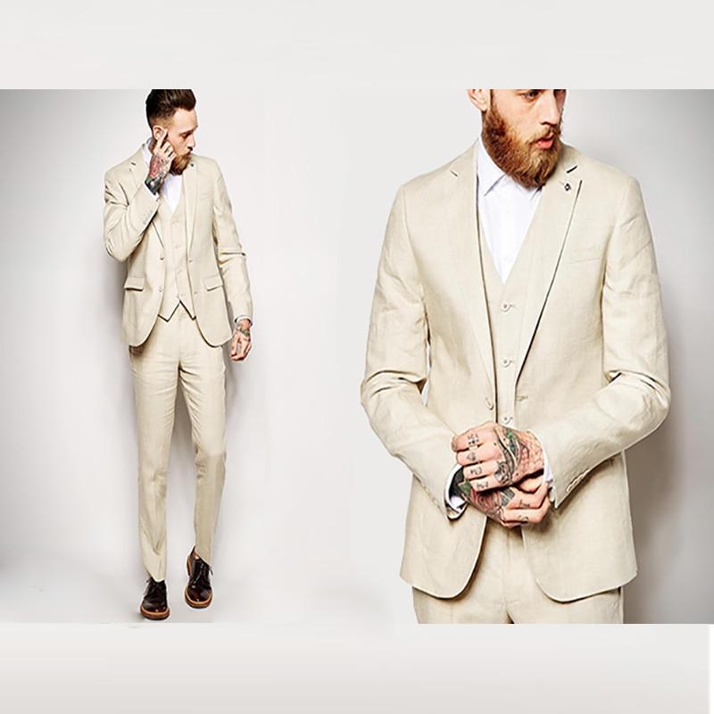 2018 latest design beige man suit for wedding linen custom classic jacket slim fit male man elegant tuxedo 3 piece for business