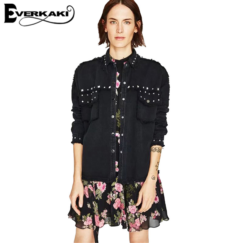 Everkaki Women Black Rivet Cool Coat Jacket Tassel Casual Button Turn-Down Collar Jean Jackets Female 2018 Autumn New Fashion