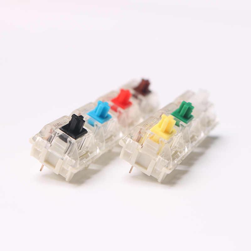 Przełącznik Gateron klawiatura mechaniczna wiśnia klon przezroczyste etui mx brązowy niebieski czerwony przełącznik oświetlenie przezroczysty niebieski przełącznik