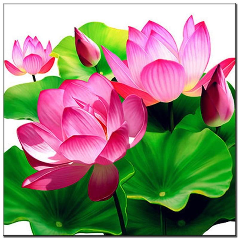 Roze Lotus 5d Diy diamant schilderij bloemen volledige steentjes - Kunsten, ambachten en naaien