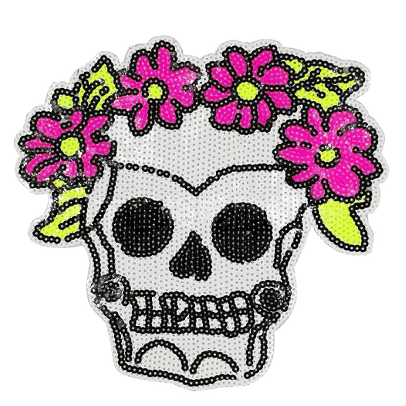 245mm skull flower patch deal with it clothes iron on patches for clothing t shirt sequins stickers halloween christmas gifts