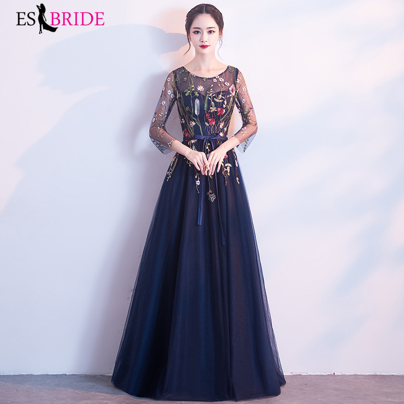Elegant Evening Gowns For Women Formal Special Occasion Dresses Party Beautiful Royal Blue Dress O-neck Evening Dress ES1194